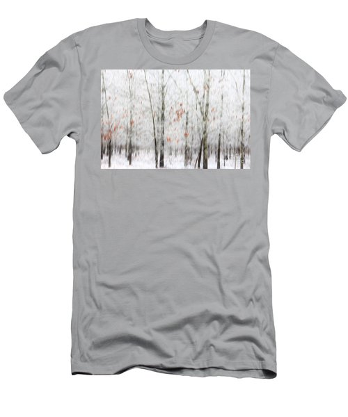 Men's T-Shirt (Slim Fit) featuring the photograph Snowy Trees Abstract by Benanne Stiens