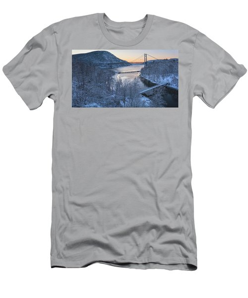 Snowy Winter Dawn At Three Bridges Men's T-Shirt (Athletic Fit)
