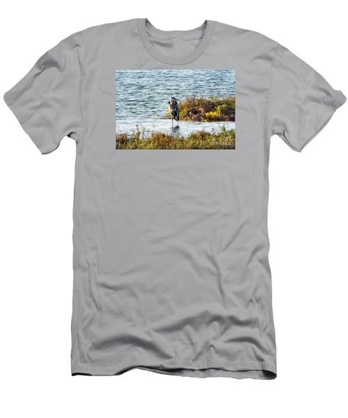 Solitary Heron Men's T-Shirt (Slim Fit) by Audrey Van Tassell