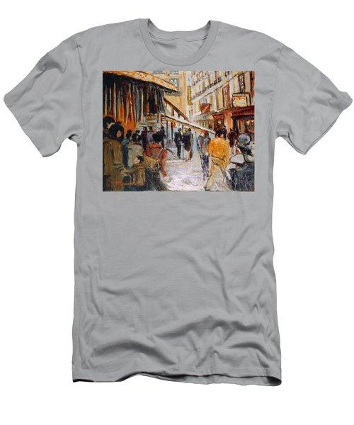 Men's T-Shirt (Slim Fit) featuring the painting Souk De Buci by Walter Casaravilla