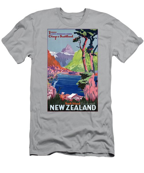 South Island New Zealand Vintage Poster Restored Men's T-Shirt (Athletic Fit)