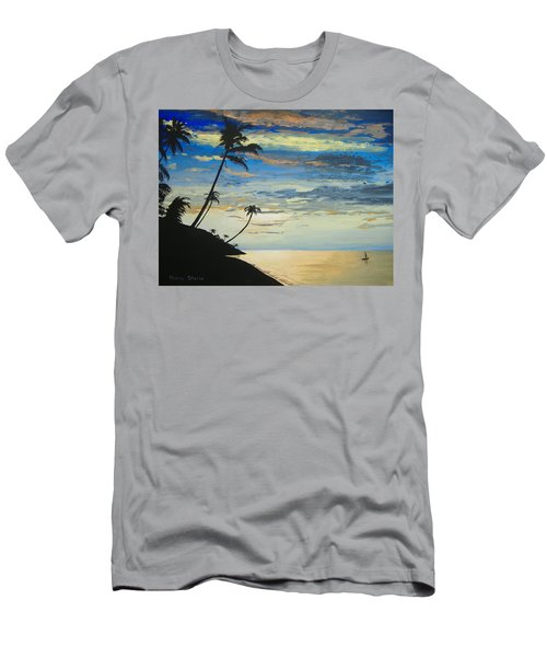 Men's T-Shirt (Slim Fit) featuring the painting South Sea Sunset by Norm Starks