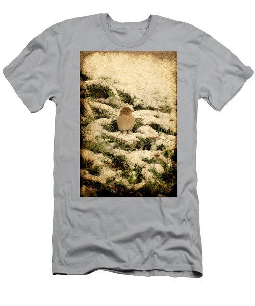 Men's T-Shirt (Athletic Fit) featuring the photograph Sparrow In Winter II - Textured by Angie Tirado