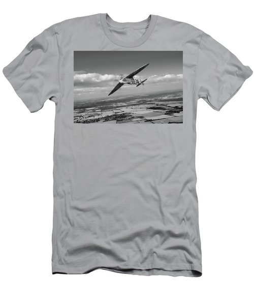 Men's T-Shirt (Athletic Fit) featuring the photograph Spitfire Tr 9 On A Roll Bw Version by Gary Eason