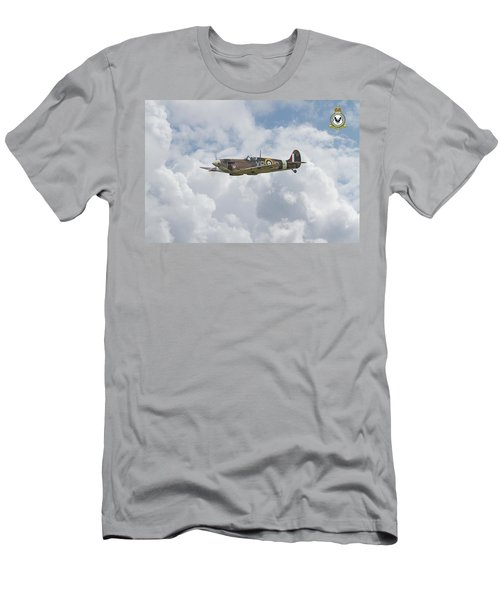 Men's T-Shirt (Slim Fit) featuring the digital art  Spitfire - Us Eagle Squadron by Pat Speirs