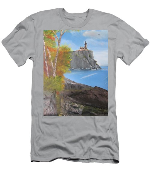 Split Rock Lighthouse Minnesota Men's T-Shirt (Slim Fit) by Thomas Janos