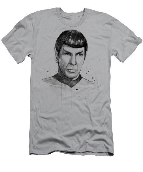 Spock Watercolor Portrait Men's T-Shirt (Slim Fit) by Olga Shvartsur