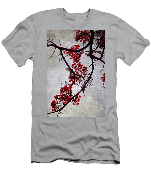 Spring Bloosom In Maldives. Flamboyant Tree II. Japanese Style Men's T-Shirt (Slim Fit) by Jenny Rainbow