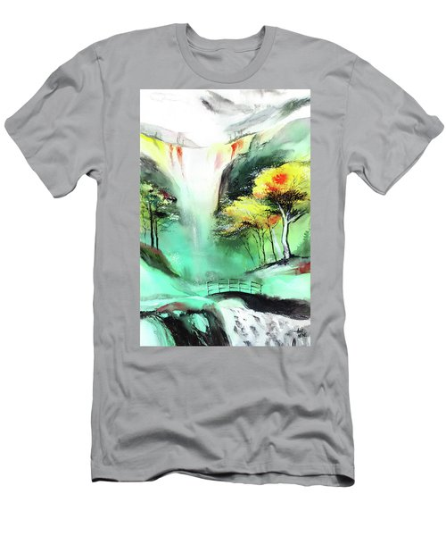 Men's T-Shirt (Slim Fit) featuring the painting Spring Fall by Anil Nene