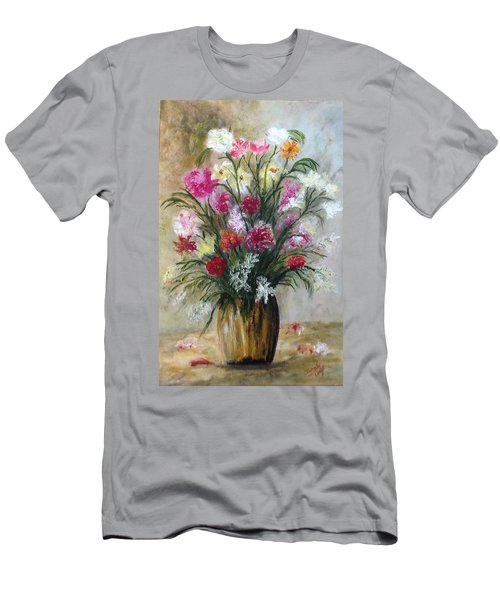 Men's T-Shirt (Slim Fit) featuring the painting Spring Flowers by Renate Voigt