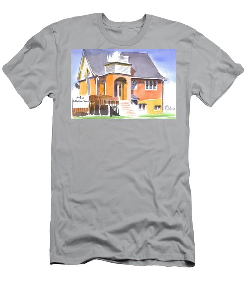 Men's T-Shirt (Slim Fit) featuring the painting St Paul Lutheran In Watercolor 2 by Kip DeVore