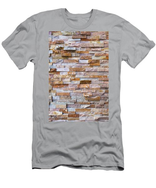 Stacked Stone Rock Wall Background Men's T-Shirt (Athletic Fit)