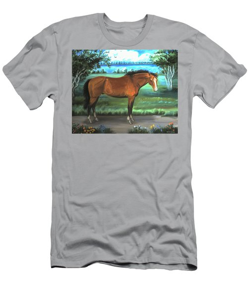 Men's T-Shirt (Slim Fit) featuring the painting Stallion Portrait by Dawn Senior-Trask