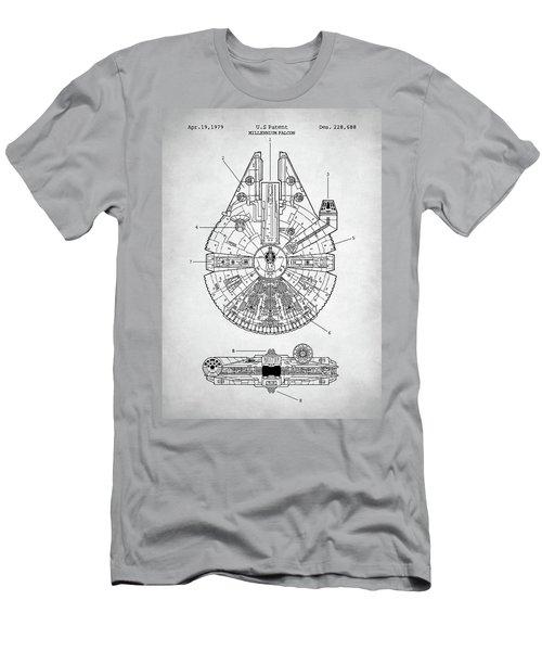 Men's T-Shirt (Slim Fit) featuring the digital art Star Wars Millennium Falcon Patent by Taylan Apukovska