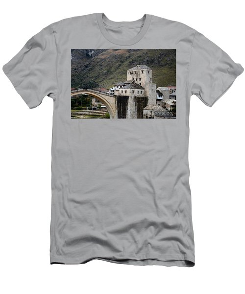 Stari Most Ottoman Bridge And Embankment Fortification Mostar Bosnia Herzegovina Men's T-Shirt (Athletic Fit)