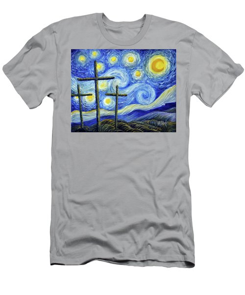 Starry Night With Crosses Men's T-Shirt (Athletic Fit)