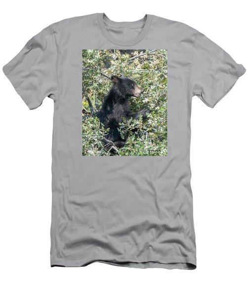 Startled Black Bear Cub Men's T-Shirt (Slim Fit) by Stephen  Johnson