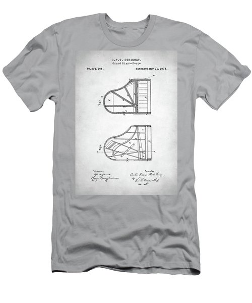 Men's T-Shirt (Slim Fit) featuring the digital art Steinway Grand Piano Patent by Taylan Apukovska