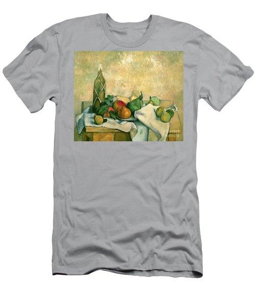 Still Life With Bottle Of Liqueur Men's T-Shirt (Slim Fit) by Paul Cezanne
