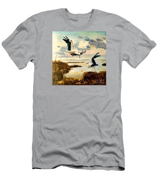 Storks II Men's T-Shirt (Slim Fit) by Henryk Gorecki
