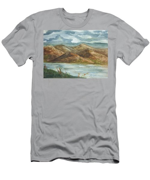 Men's T-Shirt (Slim Fit) featuring the painting Storm Clouds by Ellen Levinson