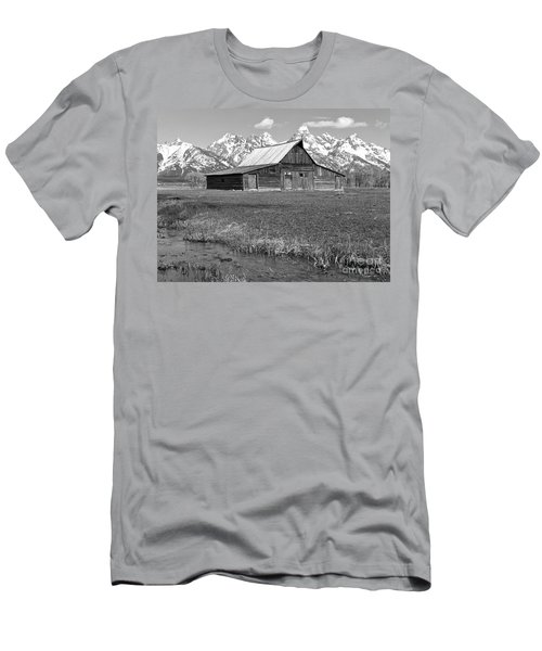 Streaming By The Moulton Barn Black And White Men's T-Shirt (Slim Fit) by Adam Jewell