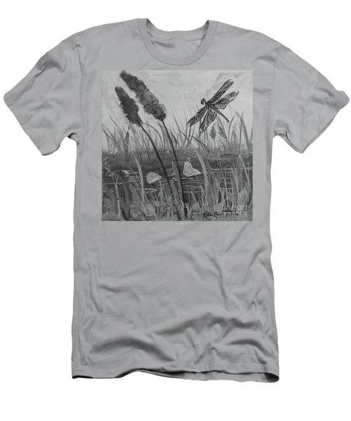 Men's T-Shirt (Athletic Fit) featuring the painting Summertime Dragonfly Black And White by Robin Maria Pedrero