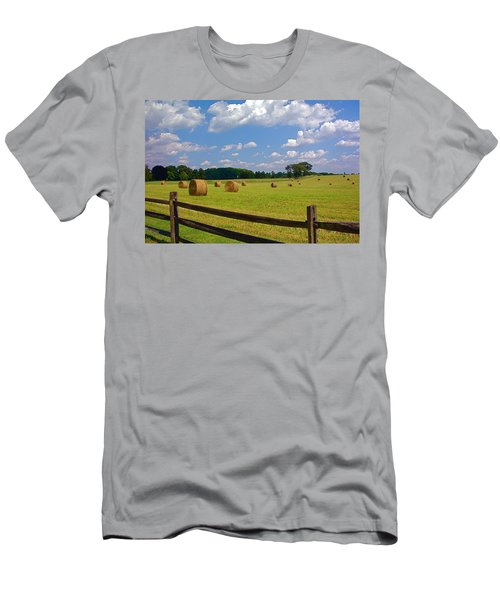 Men's T-Shirt (Slim Fit) featuring the photograph Sun Shone Hay Made by Byron Varvarigos