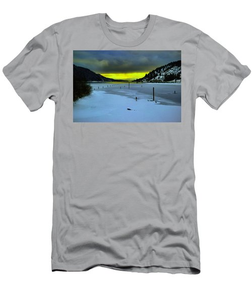 Men's T-Shirt (Slim Fit) featuring the photograph Sundown On Lake Shore by Jeff Swan