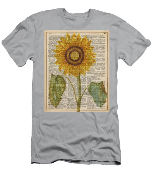 Sunflower Over Dictionary Page Men's T-Shirt (Athletic Fit)
