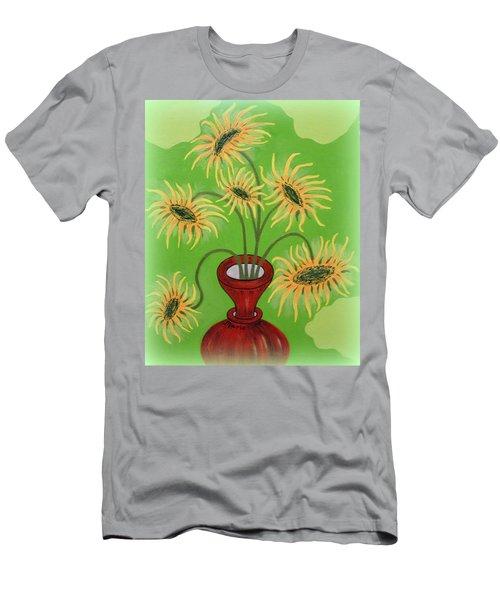 Sunflowers On Green Men's T-Shirt (Slim Fit) by Marie Schwarzer