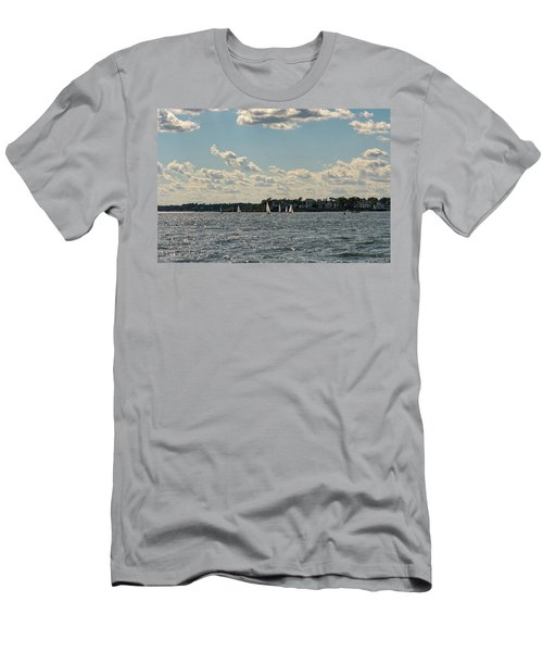 Men's T-Shirt (Slim Fit) featuring the photograph Sunlit Sailboats Norwalk Connecticut From The Water by Marianne Campolongo