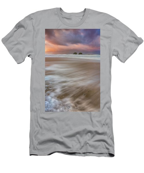 Men's T-Shirt (Athletic Fit) featuring the photograph Sunrise Storm At Twin Rocks by Darren White