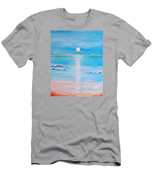 Men's T-Shirt (Slim Fit) featuring the painting Sunset At The Beach by Teresa Wegrzyn