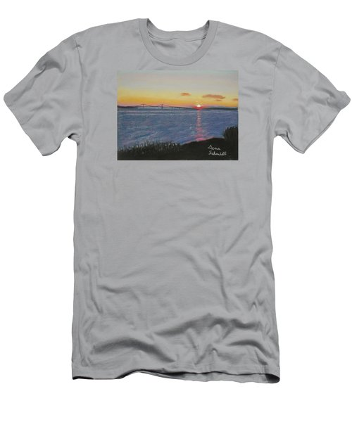 Sunset Over Mackinac Bridge In Mi Men's T-Shirt (Athletic Fit)