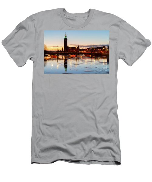 Sunset With Cityhall Of Stockholm Men's T-Shirt (Slim Fit) by Anastasy Yarmolovich