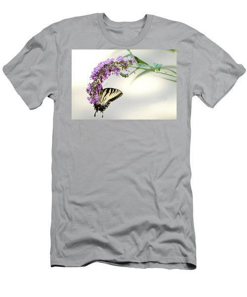 Men's T-Shirt (Slim Fit) featuring the photograph Swallowtail On Purple Flower by Emanuel Tanjala