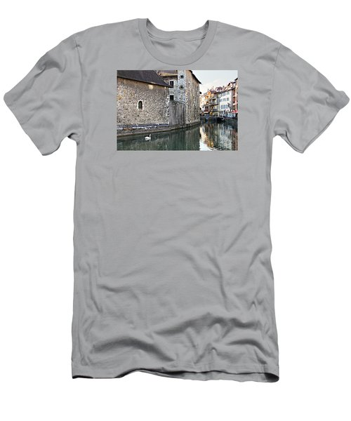 Men's T-Shirt (Slim Fit) featuring the photograph Swan In Annecy France Canal by Katie Wing Vigil