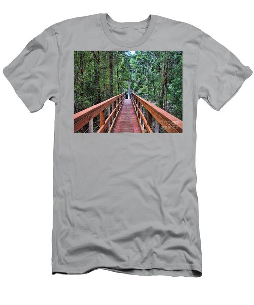 Men's T-Shirt (Slim Fit) featuring the photograph Swing Bridge by Trena Mara