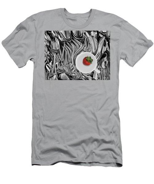 Swirled Flatware And Strawberry Men's T-Shirt (Slim Fit) by Joe Bonita