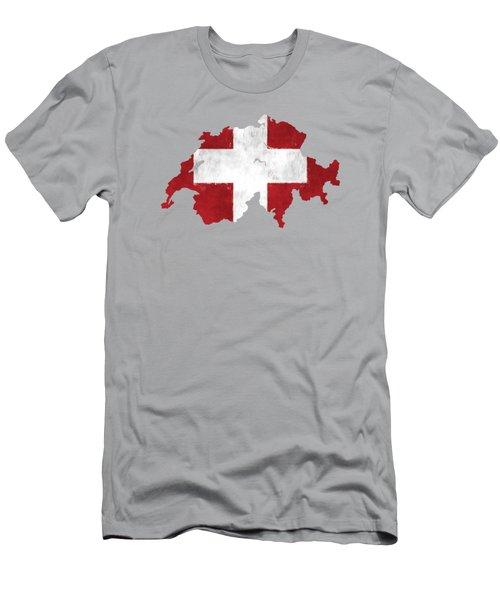 Switzerland Map Art With Flag Design Men's T-Shirt (Athletic Fit)