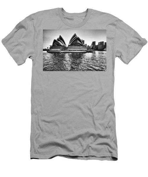 Sydney Opera House-black And White Men's T-Shirt (Athletic Fit)