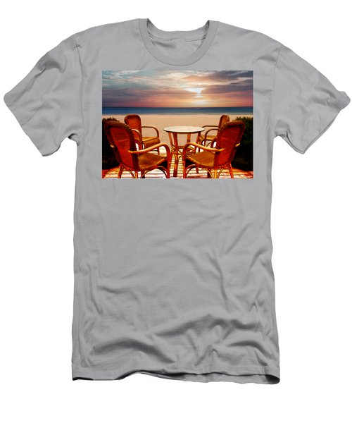 Table For Four At The Beach At Sunset Men's T-Shirt (Athletic Fit)