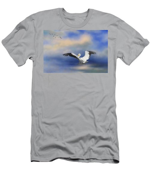 Men's T-Shirt (Athletic Fit) featuring the photograph Take Off By The Sea by Kim Hojnacki