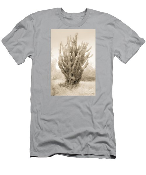 Tall Cactus In Sepia Men's T-Shirt (Athletic Fit)