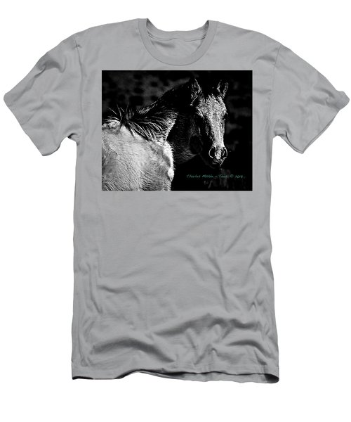 Taos Pony In B-w Men's T-Shirt (Athletic Fit)