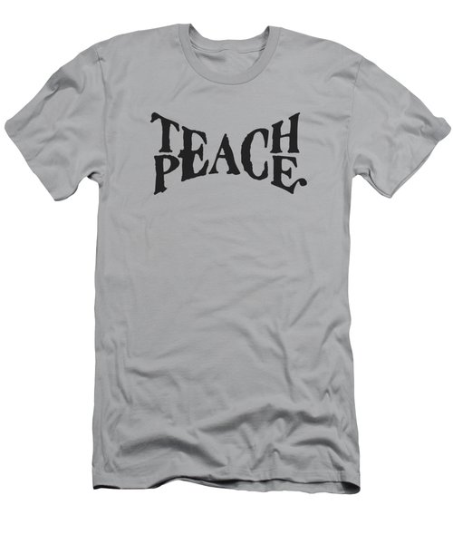 Teach Peace Phrase Typography Wordmark In Old Paint On Distressed Canvas Men's T-Shirt (Athletic Fit)