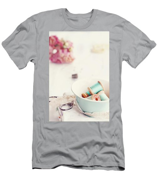 Teacup Full Of Vintage Spools Of Thread Men's T-Shirt (Athletic Fit)