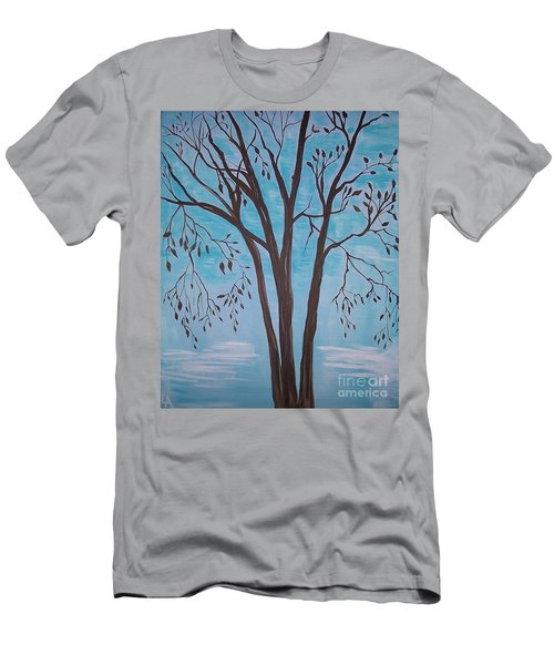 Men's T-Shirt (Slim Fit) featuring the painting Teal And Brown by Leslie Allen