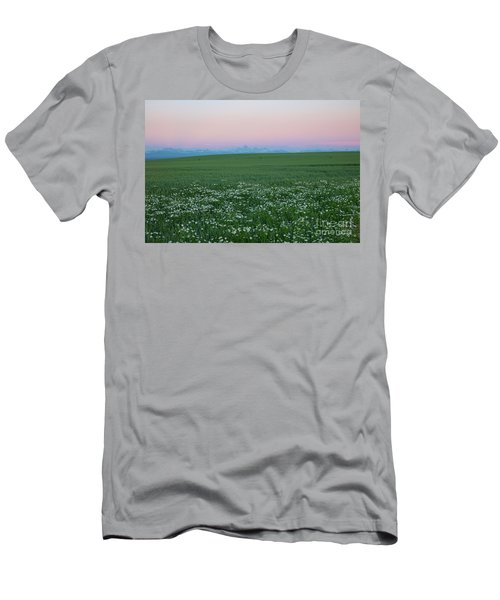 Tetons With Daisies Men's T-Shirt (Athletic Fit)